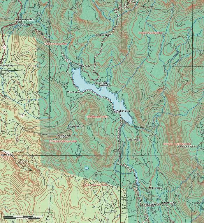 bass lake california map Maptopo bass lake california map
